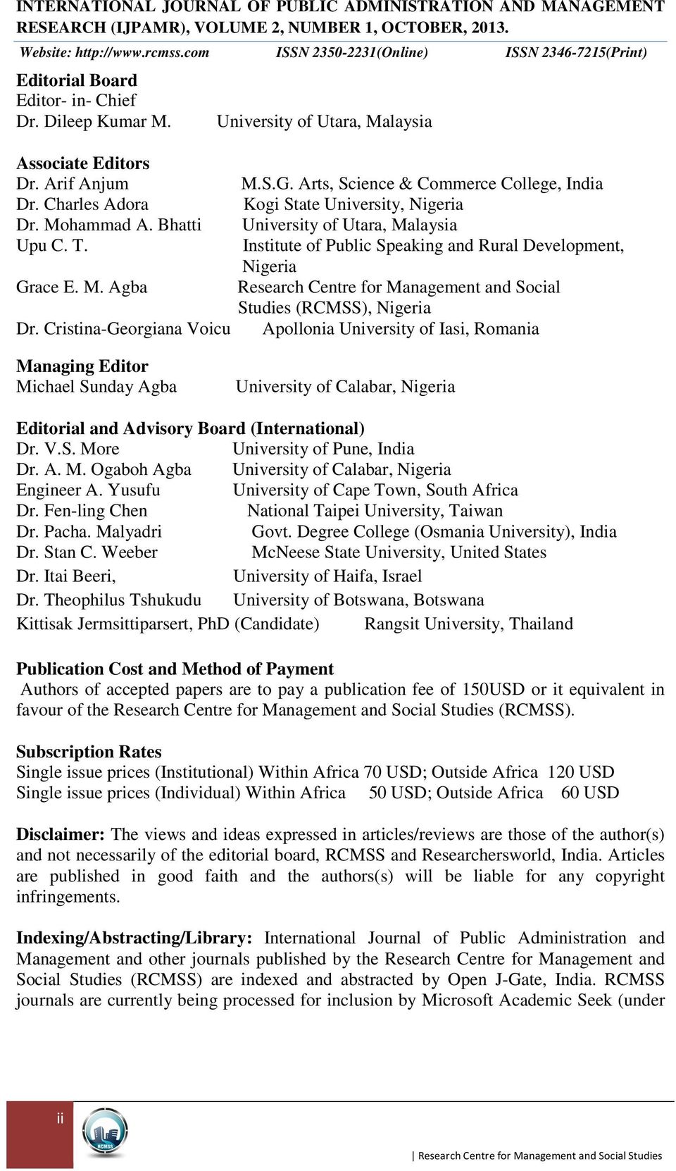 IJPAMR) INTERNATIONAL JOURNAL OF PUBLIC ADMINISTRATION AND