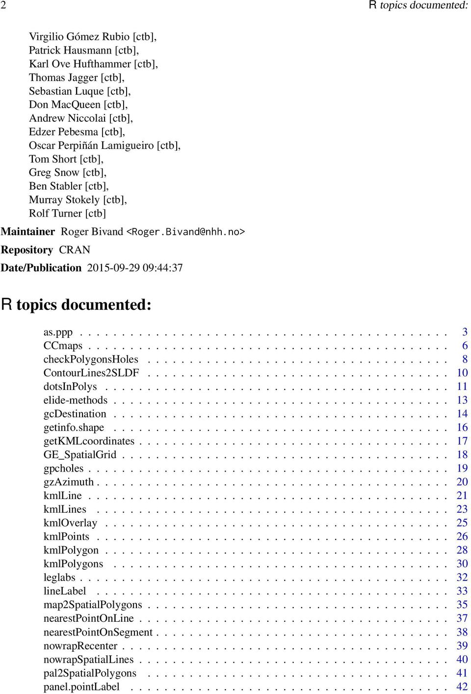 Package maptools  September 29, PDF