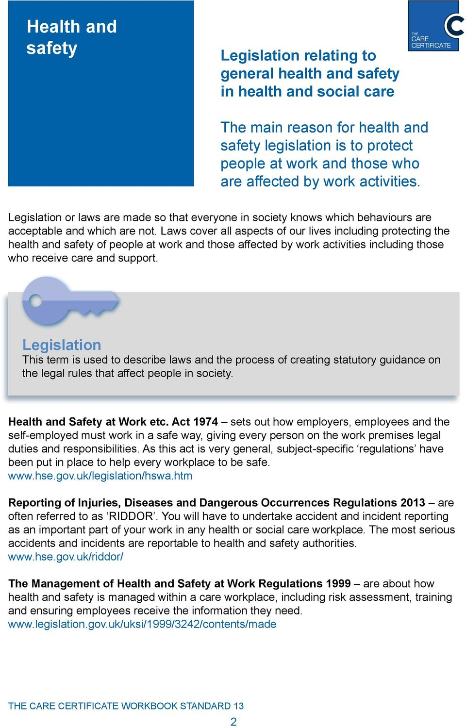 health and safety in health and social care workplace