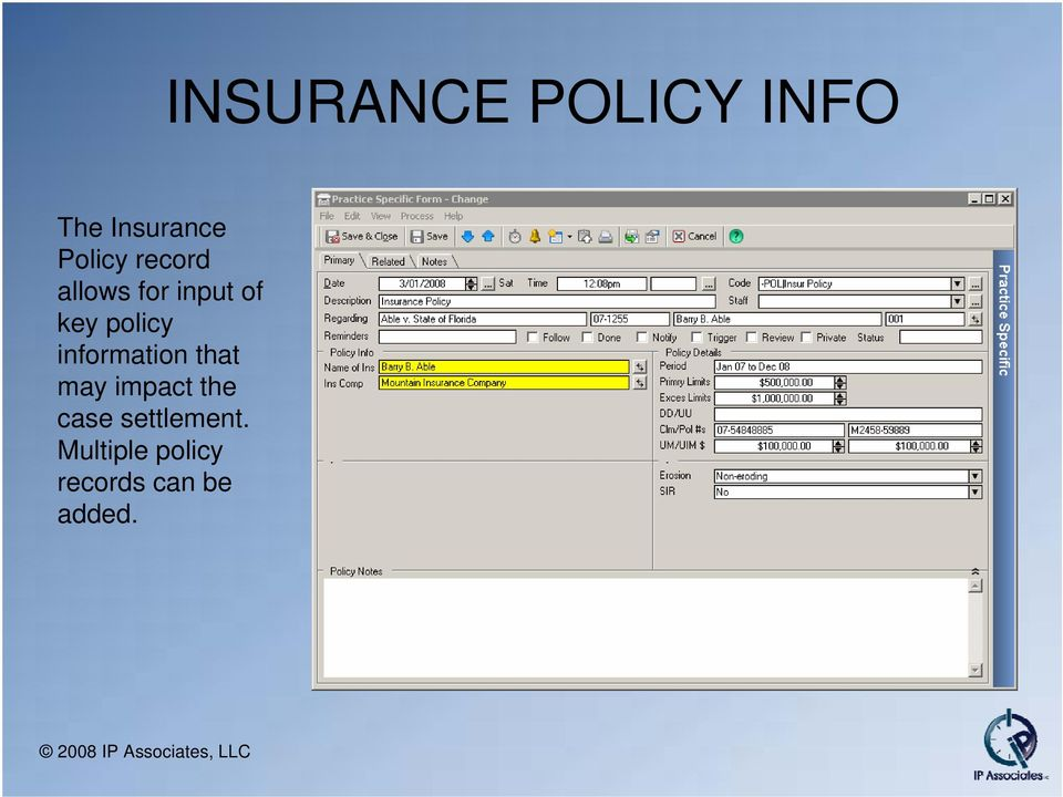 policy information that may impact the