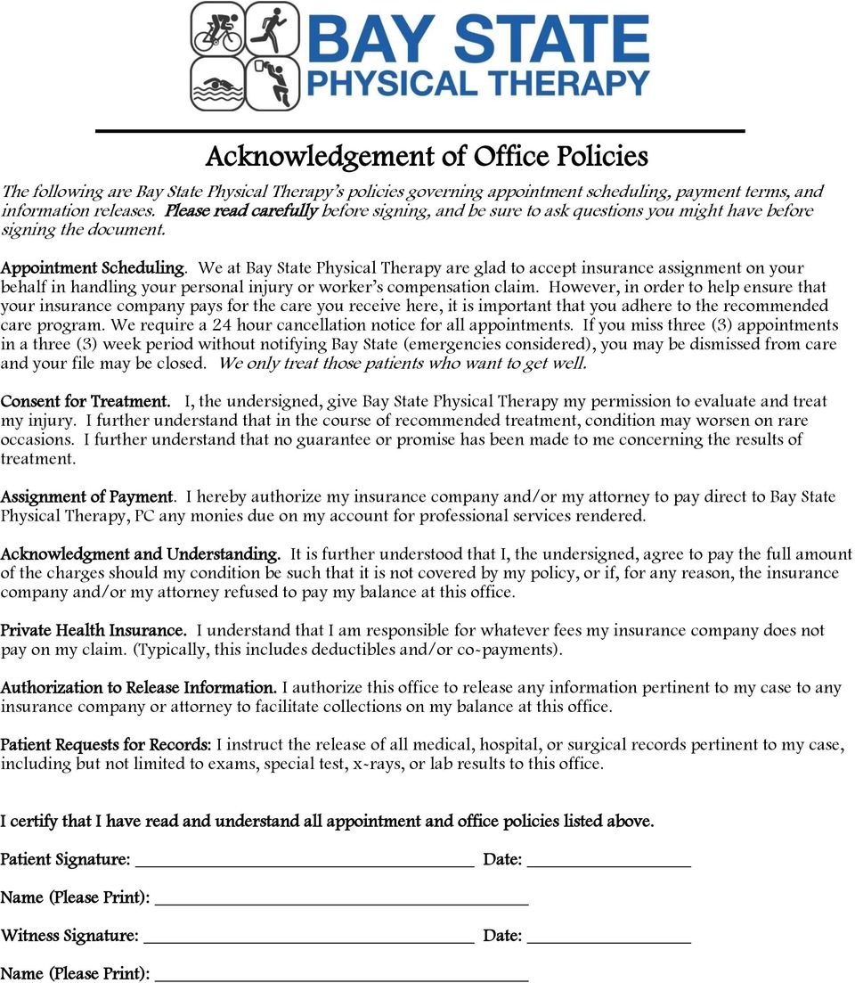 We at Bay State Physical Therapy are glad to accept insurance assignment on your behalf in handling your personal injury or worker s compensation claim.