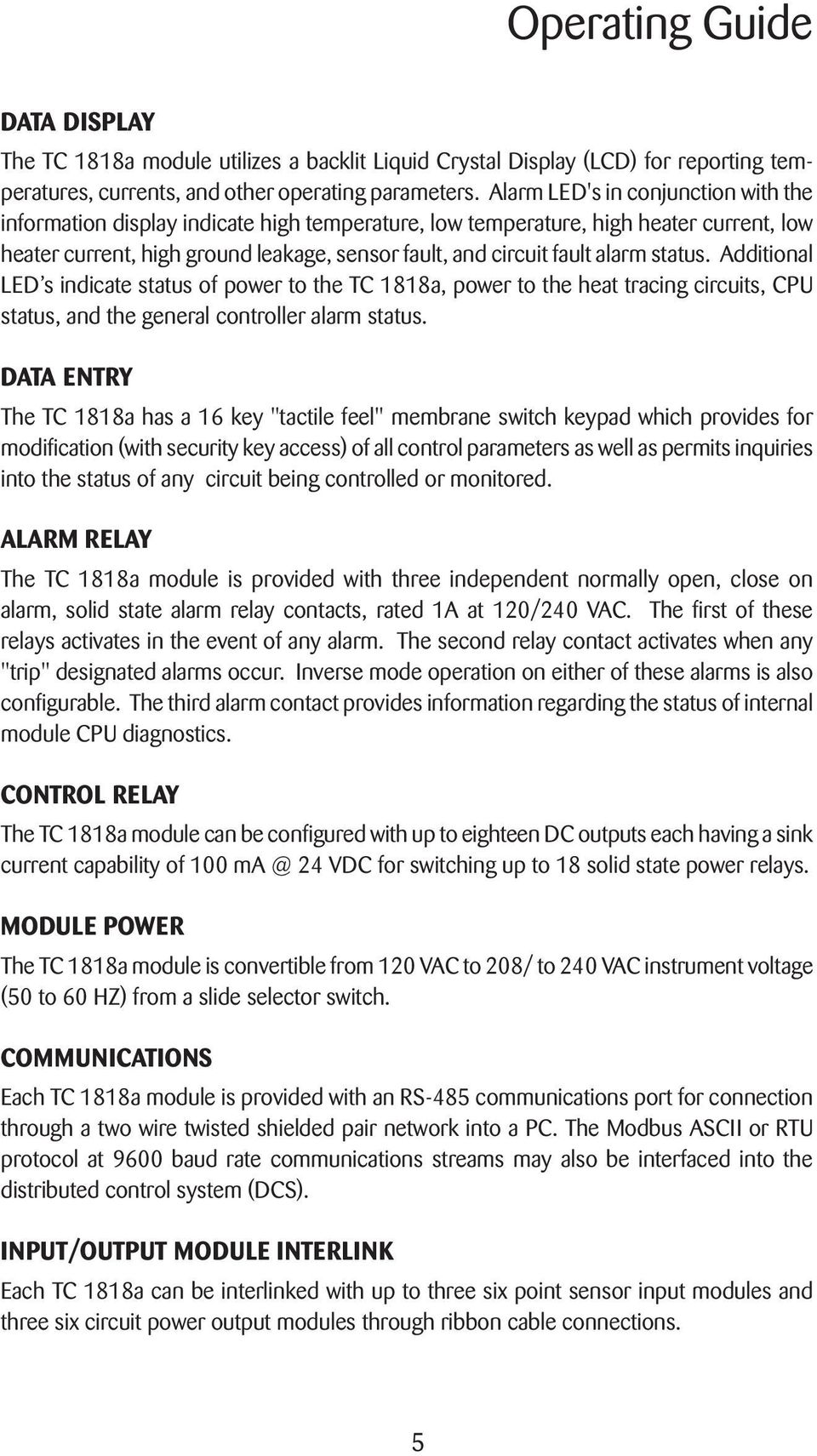 Tc 1818a Operating Guide Control Module Swm Pdf Current Alarm Relay Status Additional Led S Indicate Of Power To The