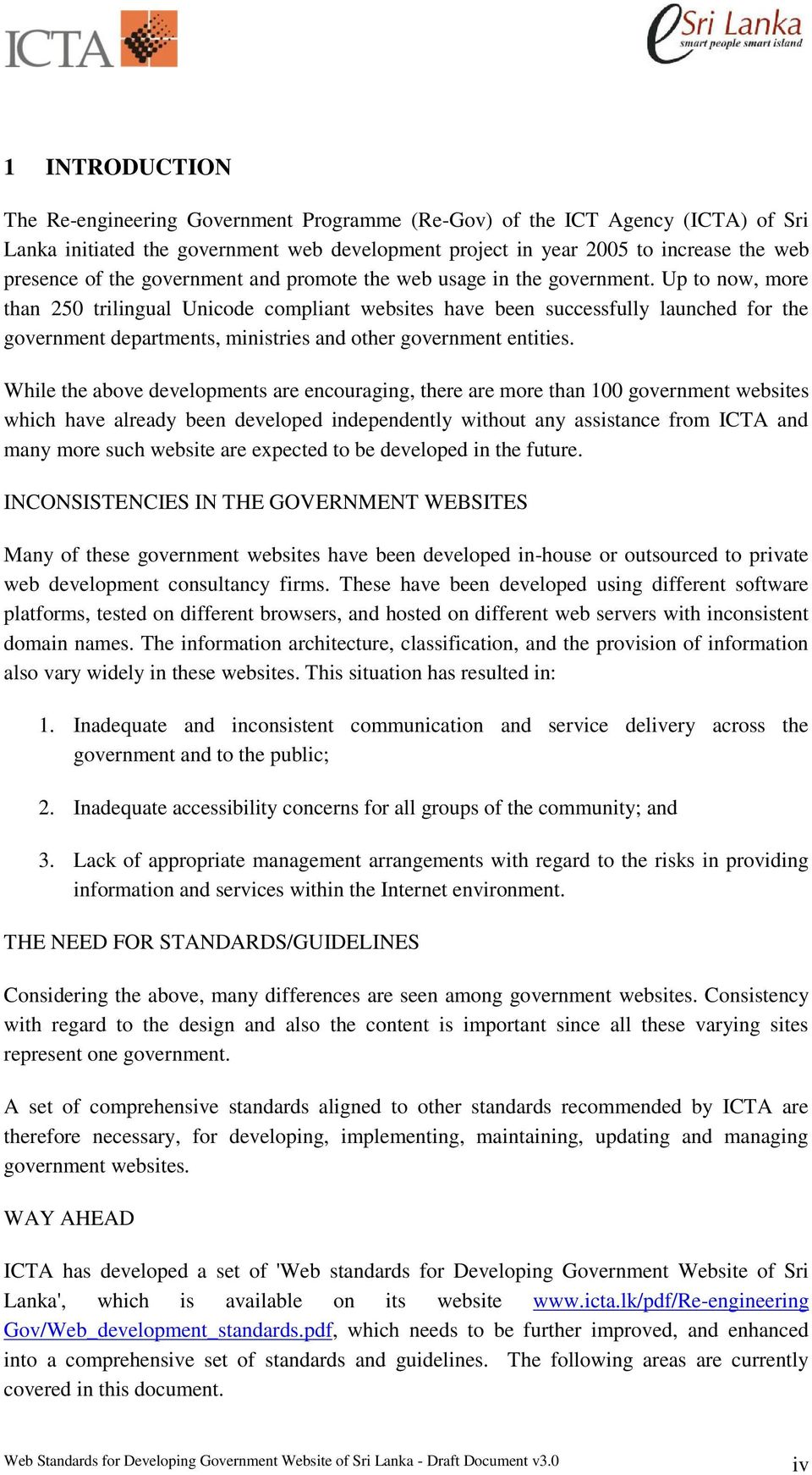 Web Standards  for  Developing Government Website of Sri