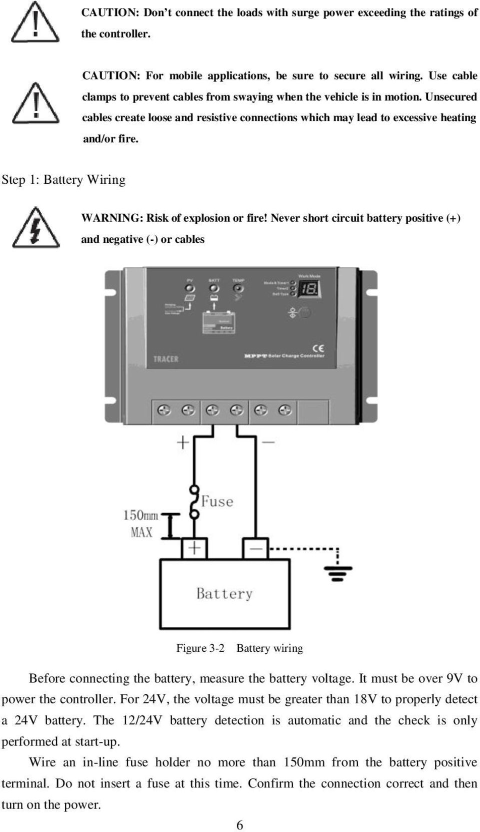 Instruction Manual Epsolar Tracer 2210rn 2215rn Maximum Power Controller Wiring Schematic Also Mppt Solar Charge Circuit Step 1 Battery Warning Risk Of Explosion Or Fire