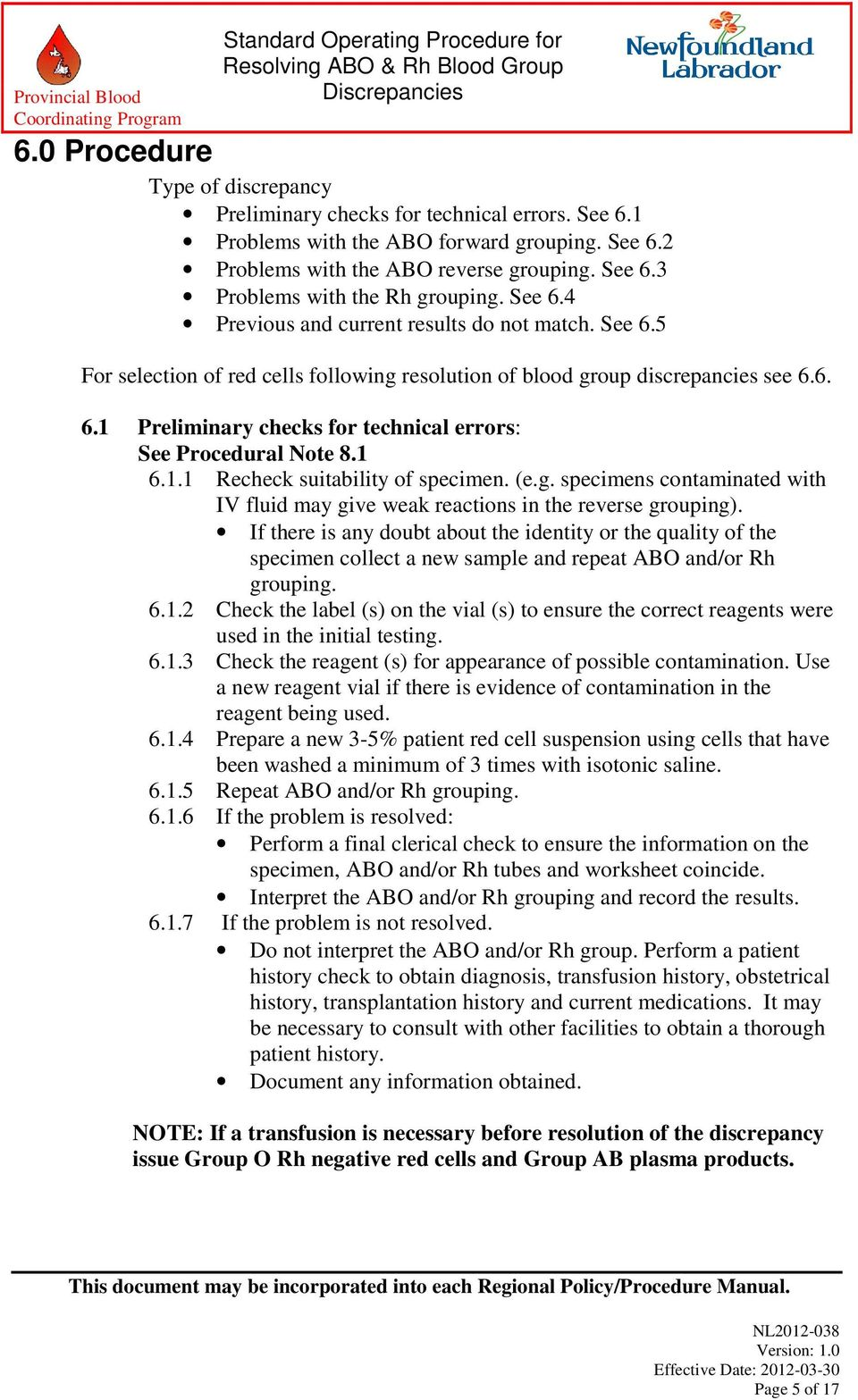 STANDARD OPERATING PROCEDURE FOR RESOLVING ABO & Rh BLOOD GROUP