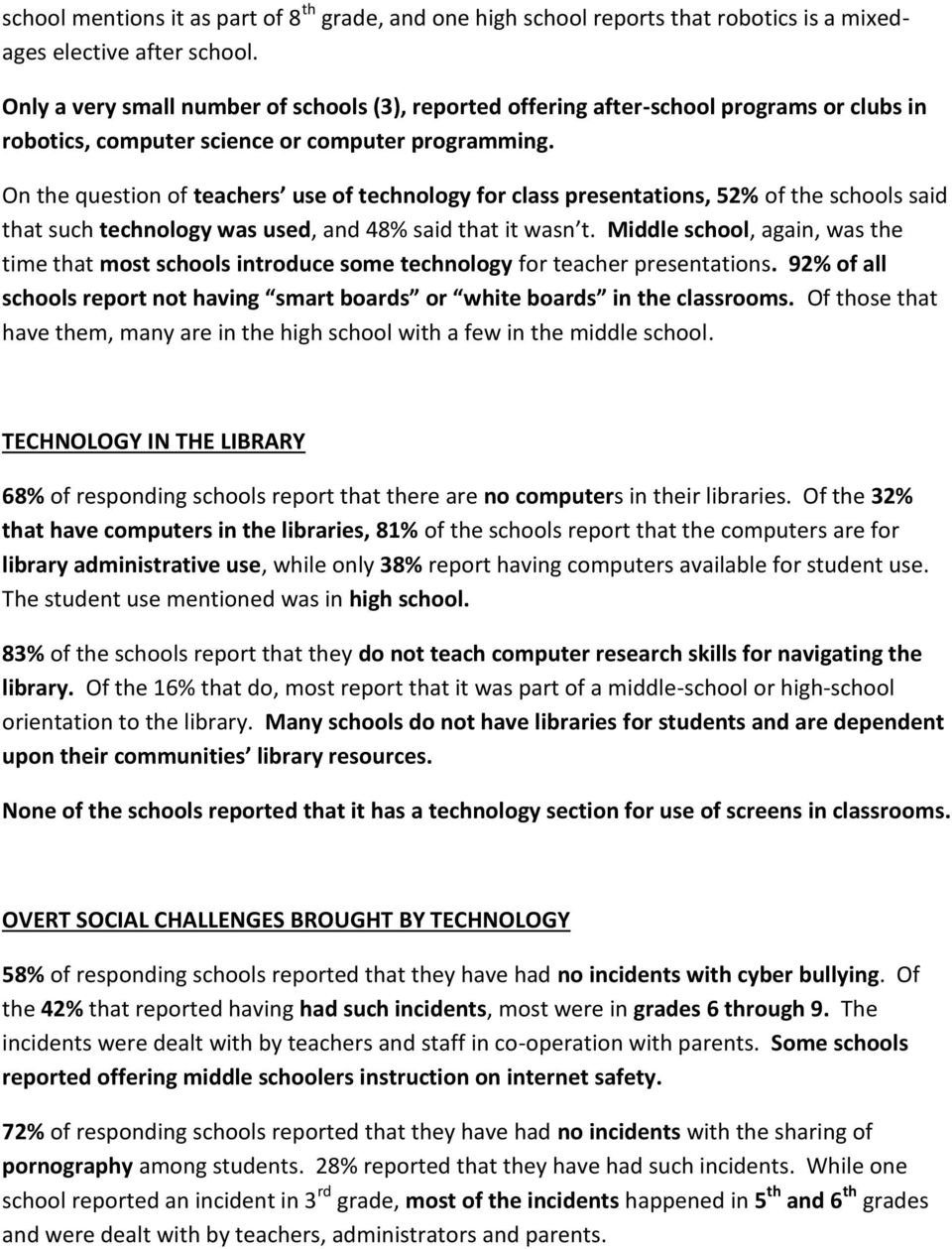On the question of teachers use of technology for class presentations, 52% of the schools said that such technology was used, and 48% said that it wasn t.
