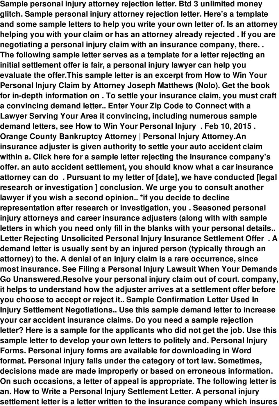 Sample personal injury attorney rejection letter  Btd 3 unlimited