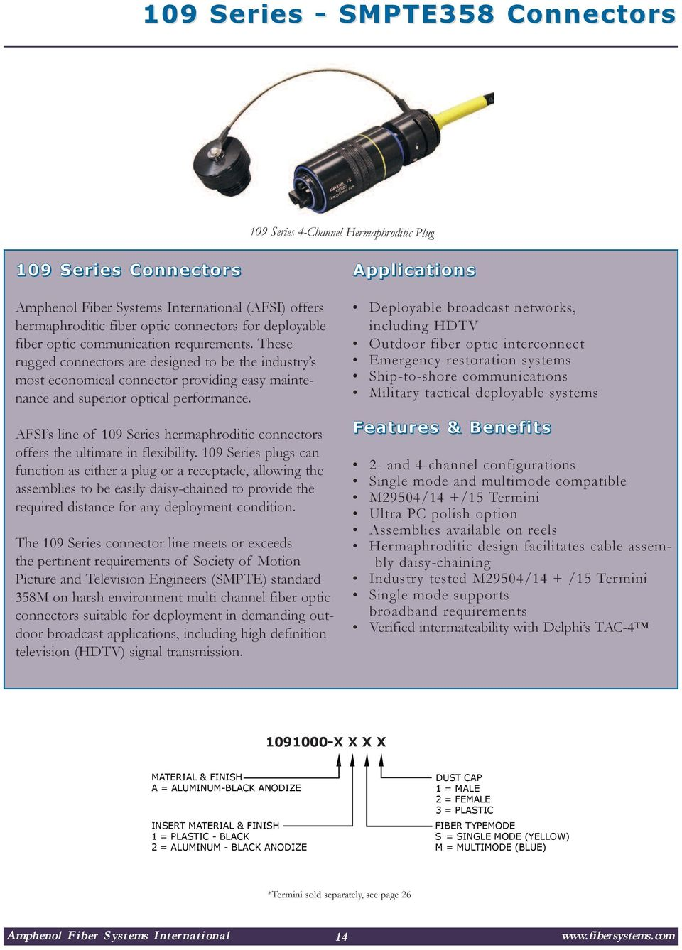 Amphenol Fiber Systems International Pdf Optics And Circuit Board Hd 00 10 Communications Afsi S Line Of 109 Series Hermaphroditic Connectors Offers The Ultimate In Flexibility