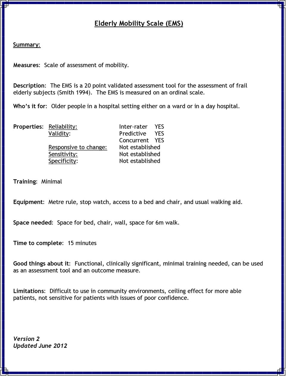Elderly Mobility Scale Ems Pdf