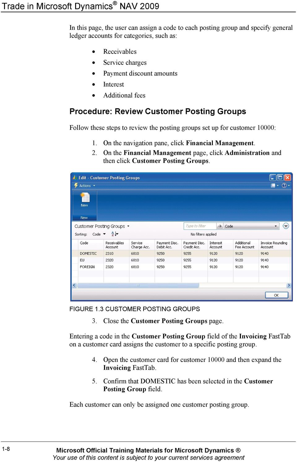On the navigation pane, click Financial Management. 2. On the Financial Management page, click Administration and then click Customer Posting Groups. FIGURE 1.3 CUSTOMER POSTING GROUPS 3.