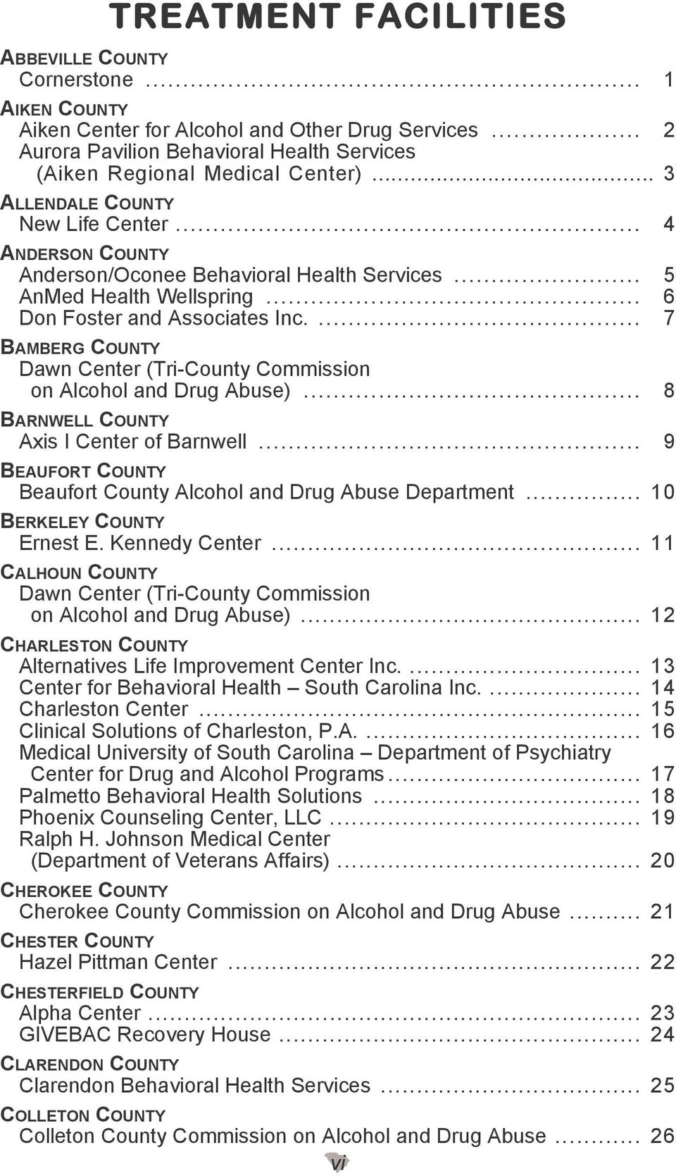 ... 7 BAMBERG COUNTY Dawn Center (Tri-County Commission on Alcohol and Drug Abuse)... 8 BARNWELL COUNTY Axis I Center of Barnwell... 9 BEAUFORT COUNTY Beaufort County Alcohol and Drug Abuse Department.