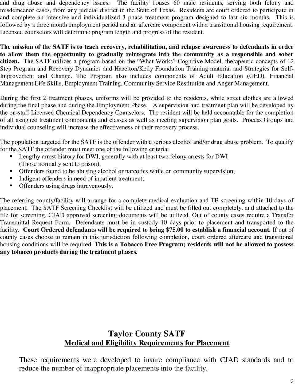 TAYLOR COUNTY CSCD SUBSTANCE ABUSE TREATMENT FACILITY - PDF