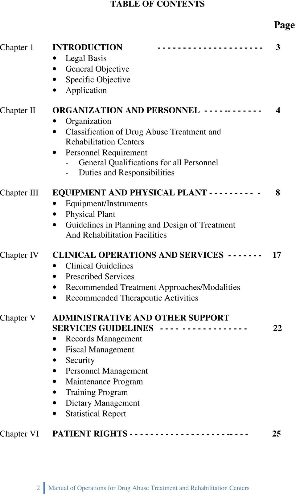 EQUIPMENT AND PHYSICAL PLANT - - - - - - - - - - 8 Equipment/Instruments Physical Plant Guidelines in Planning and Design of Treatment And Rehabilitation Facilities Chapter IV CLINICAL OPERATIONS AND