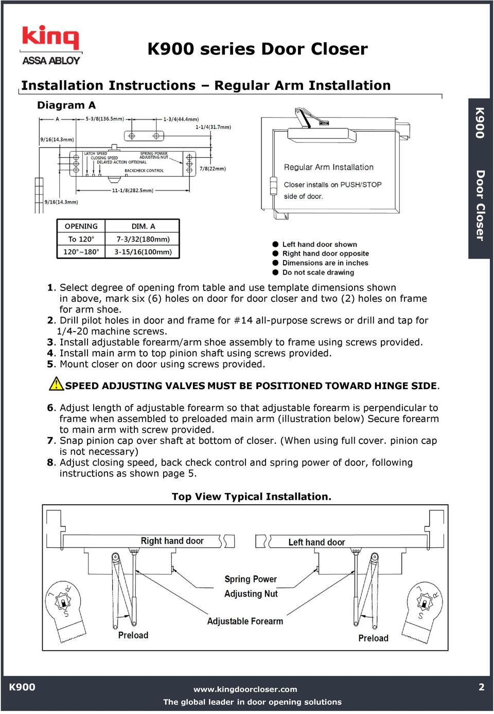 Installation Instructions K900 Series Door Closer Pdf 7900 Wiring Diagram Drill Pilot Holes In And Frame For 14 All Purpose Screws Or 3 Top Jamb
