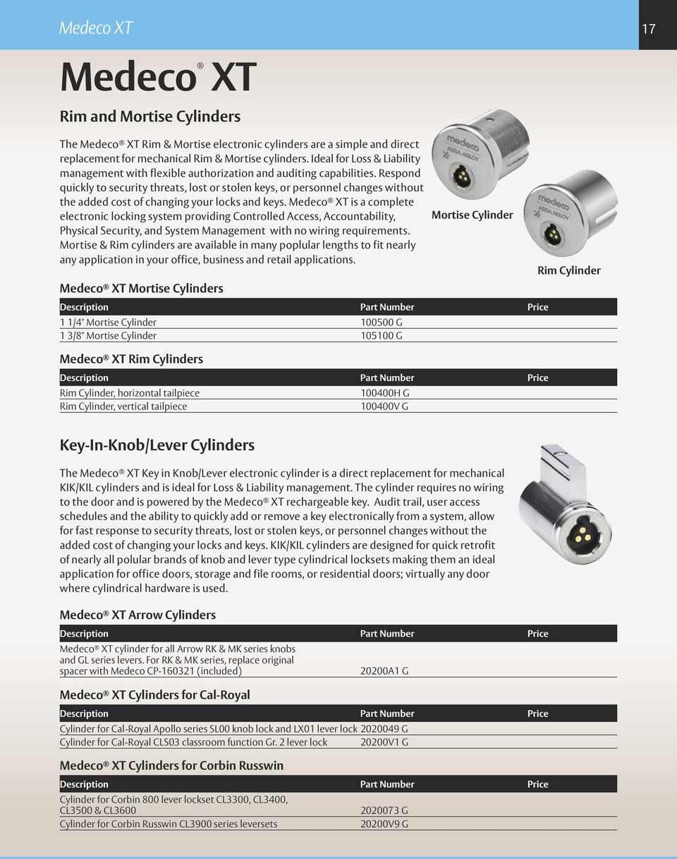 Table of Contents Product Catalog  Mechanical Technologies  Medeco
