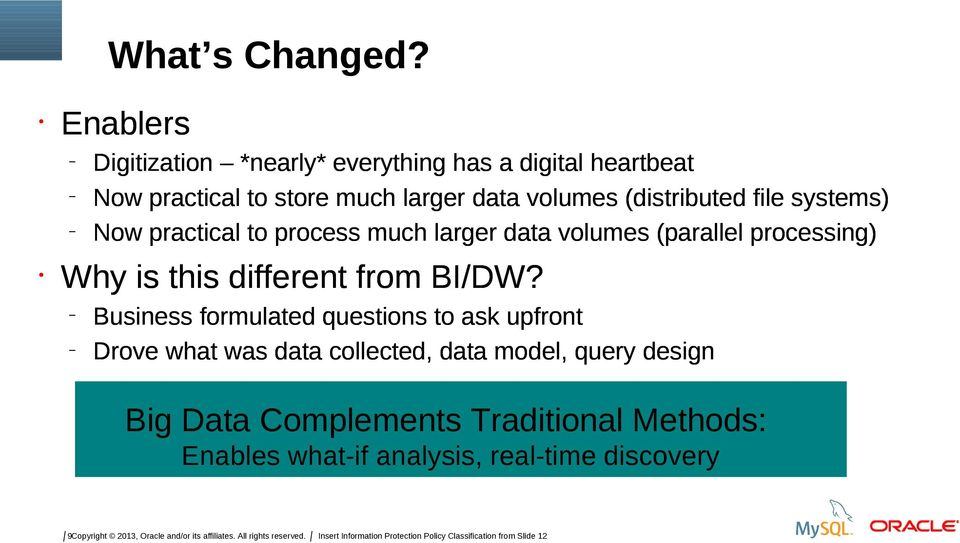 file systems) Now practical to process much larger data volumes (parallel processing) Why is this different from BI/DW?