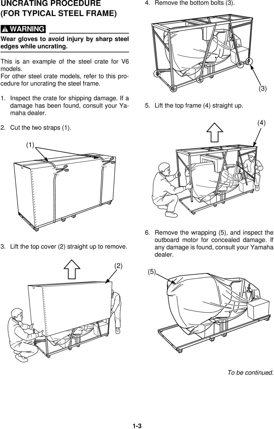 Rigging Guide Worldwide Edition Pdf Yamaha F350 Command Link Wiring Diagram Inspect The Crate For Shipping Damage If A Has Been Found Consult Your