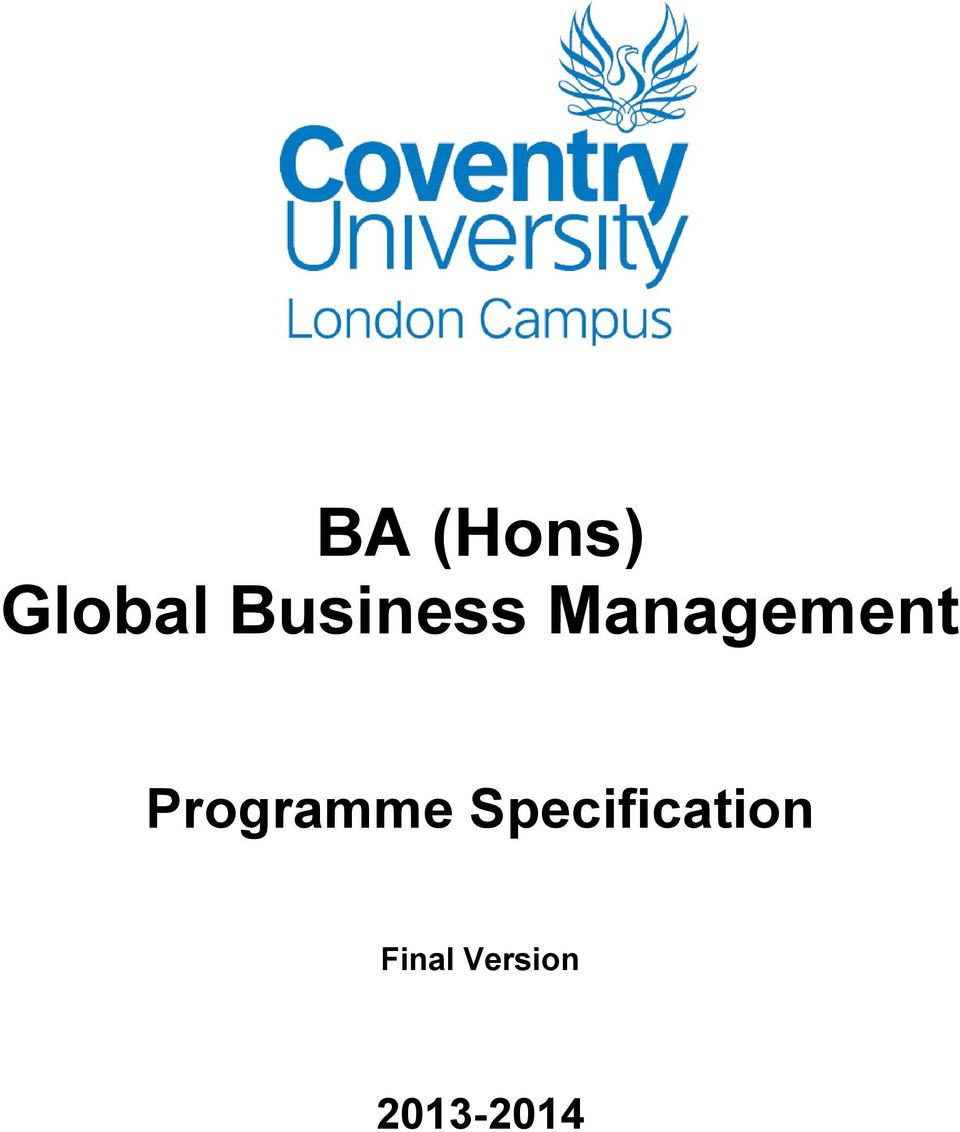 Ba Hons Global Business Management Pdf