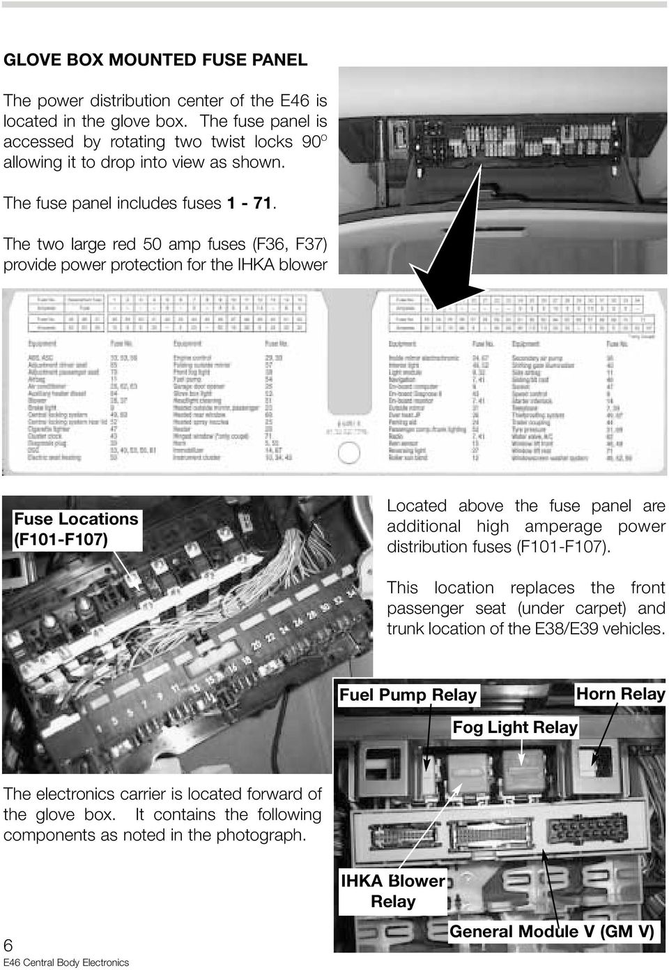 E46 Central Body Electronics Pdf Bmw Locking Wiring Diagram The Two Large Red 50 Amp Fuses F36 F37 Provide Power Protection For