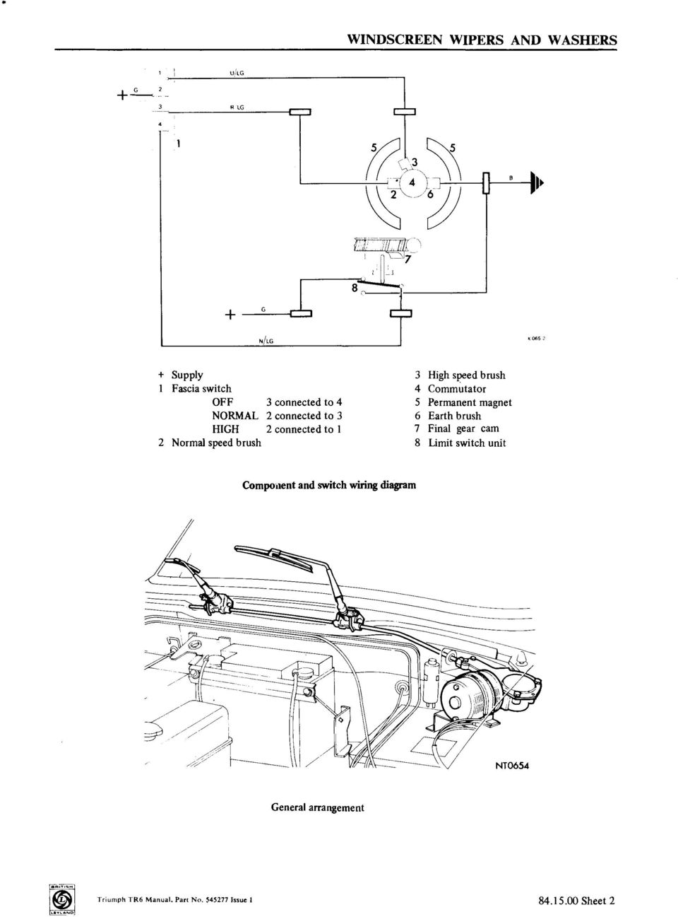 Windscreen Wipers And Washers Operations Pdf 76 Triumph Tr6 Wiring Diagram Connected To 1 7 Final Gear Cam 2 Normal Speed Brush 8 Limit Switch Unit Compo