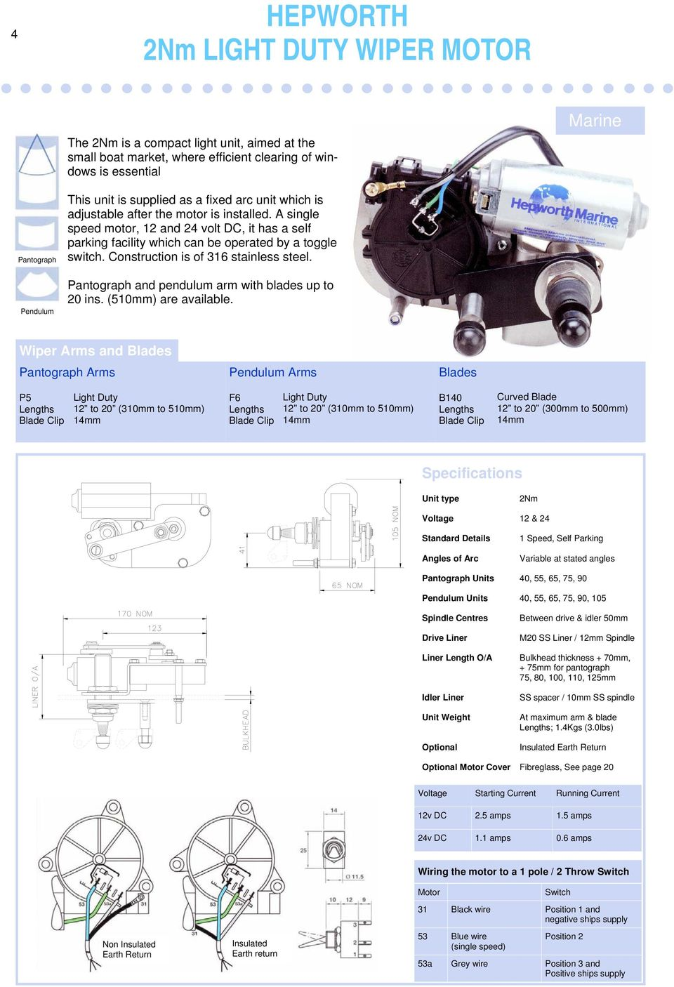 Windscreen Wiper Catalogue Pdf Wiring Of 12 Volt 2speed Steeringcolumnmounted Switch Construction Is 316 Stainless Steel Pantograph And Pendulum Arm With Blades Up To 20