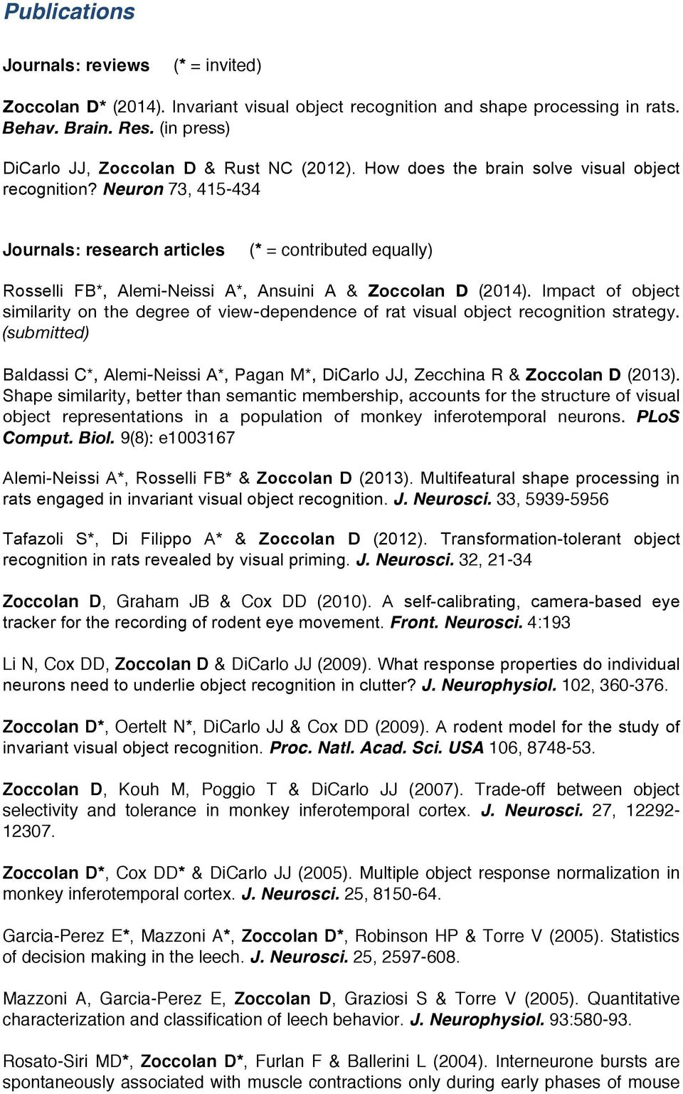 Neuron 73, 415-434 Journals: research articles (* = contributed equally) Rosselli FB*, Alemi-Neissi A*, Ansuini A & Zoccolan D (2014).