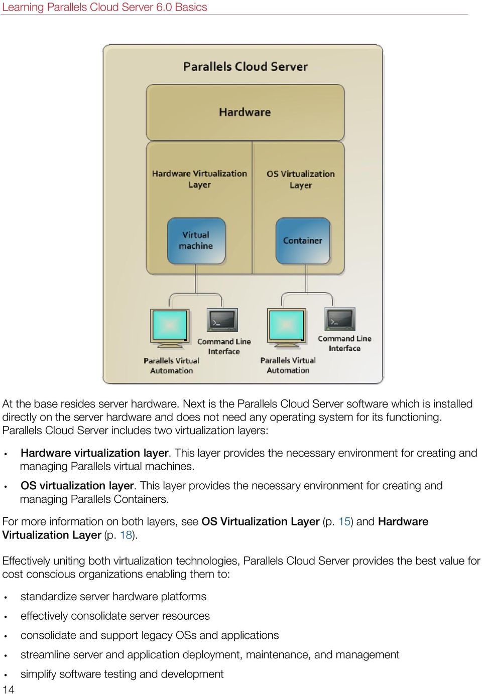 Parallels Cloud Server includes two virtualization layers: Hardware virtualization layer. This layer provides the necessary environment for creating and managing Parallels virtual machines.