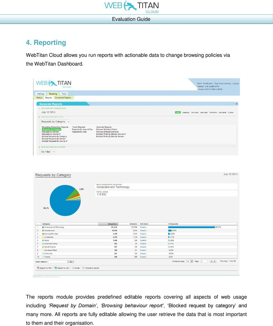 The reports module provides predefined editable reports covering all aspects of web usage including Request