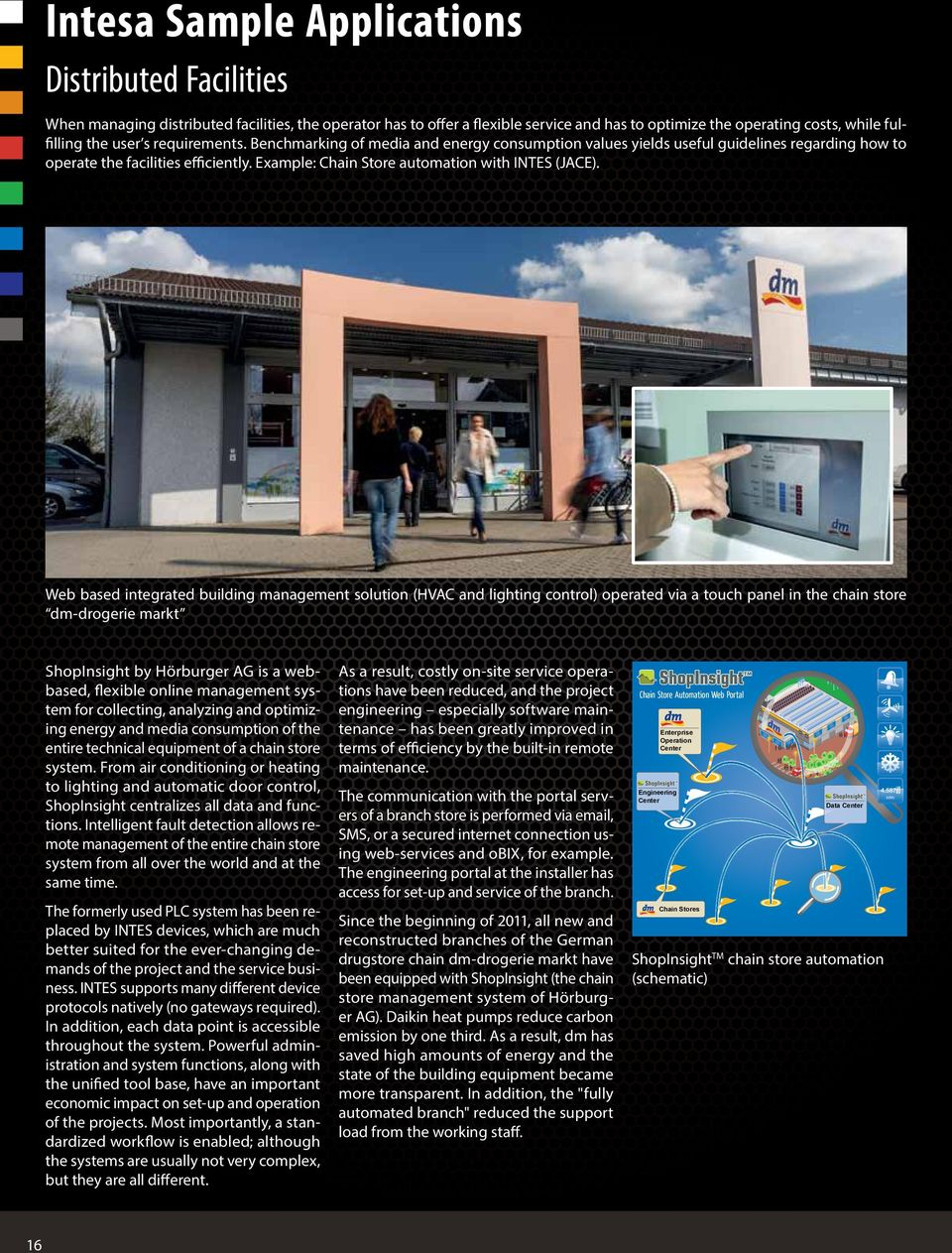 Web based integrated building management solution (HVAC and lighting control) operated via a touch panel in the chain store dm-drogerie markt ShopInsight by Hörburger AG is a webbased, flexible
