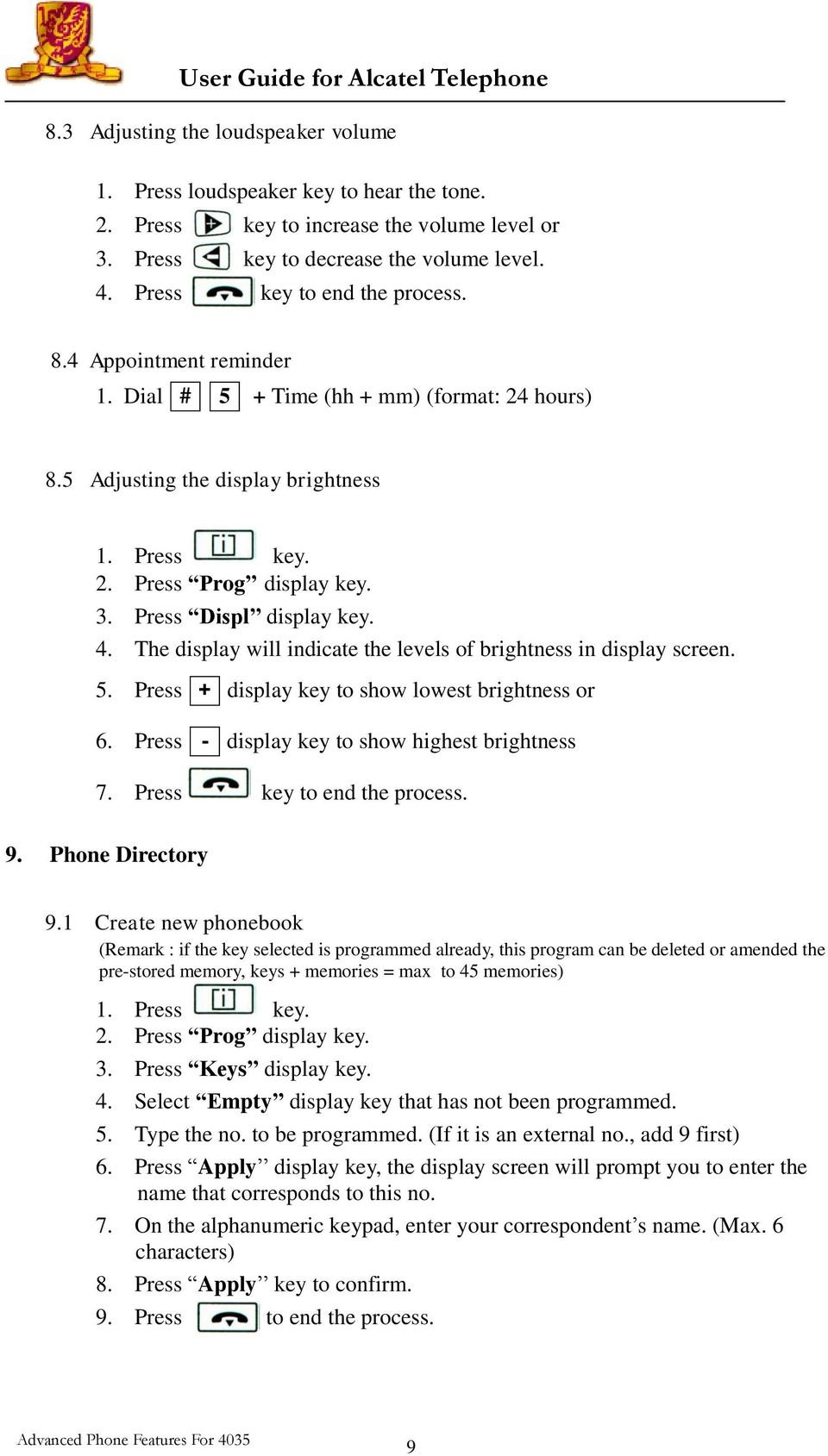 User Guide for Alcatel Telephone Advanced Phone Features For PDF