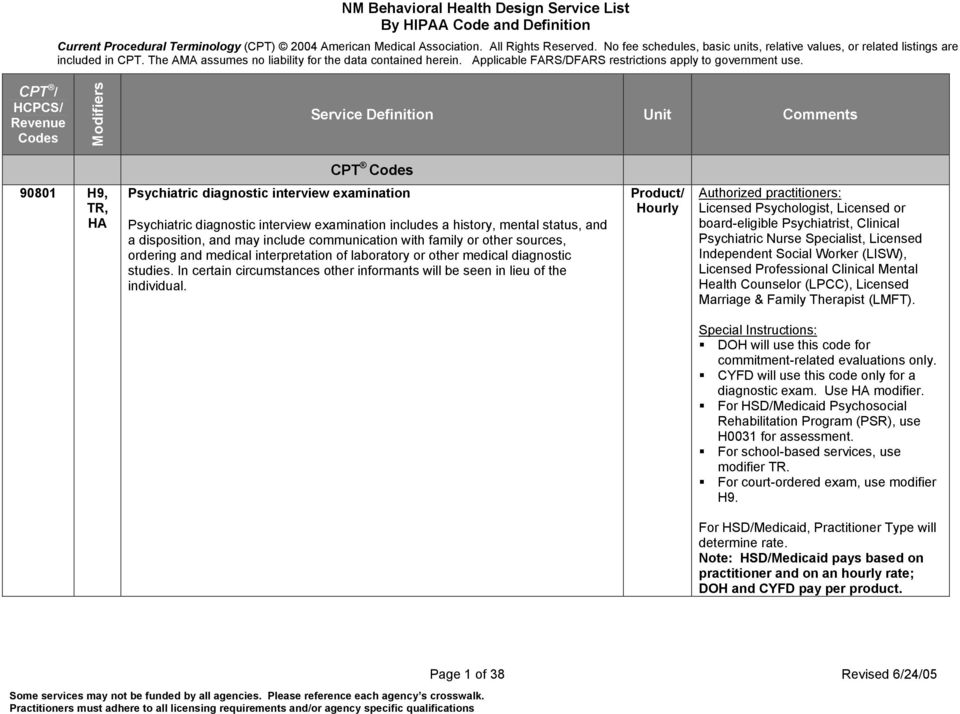 Nm Behavioral Health Design Service List By Hipaa Code And
