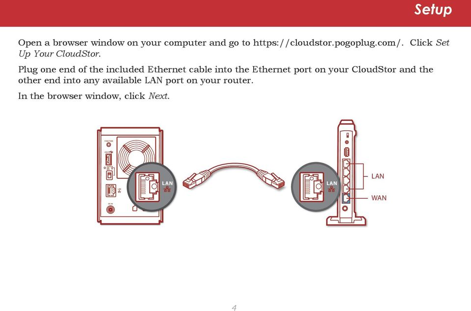 Plug one end of the included Ethernet cable into the Ethernet port on your CloudStor