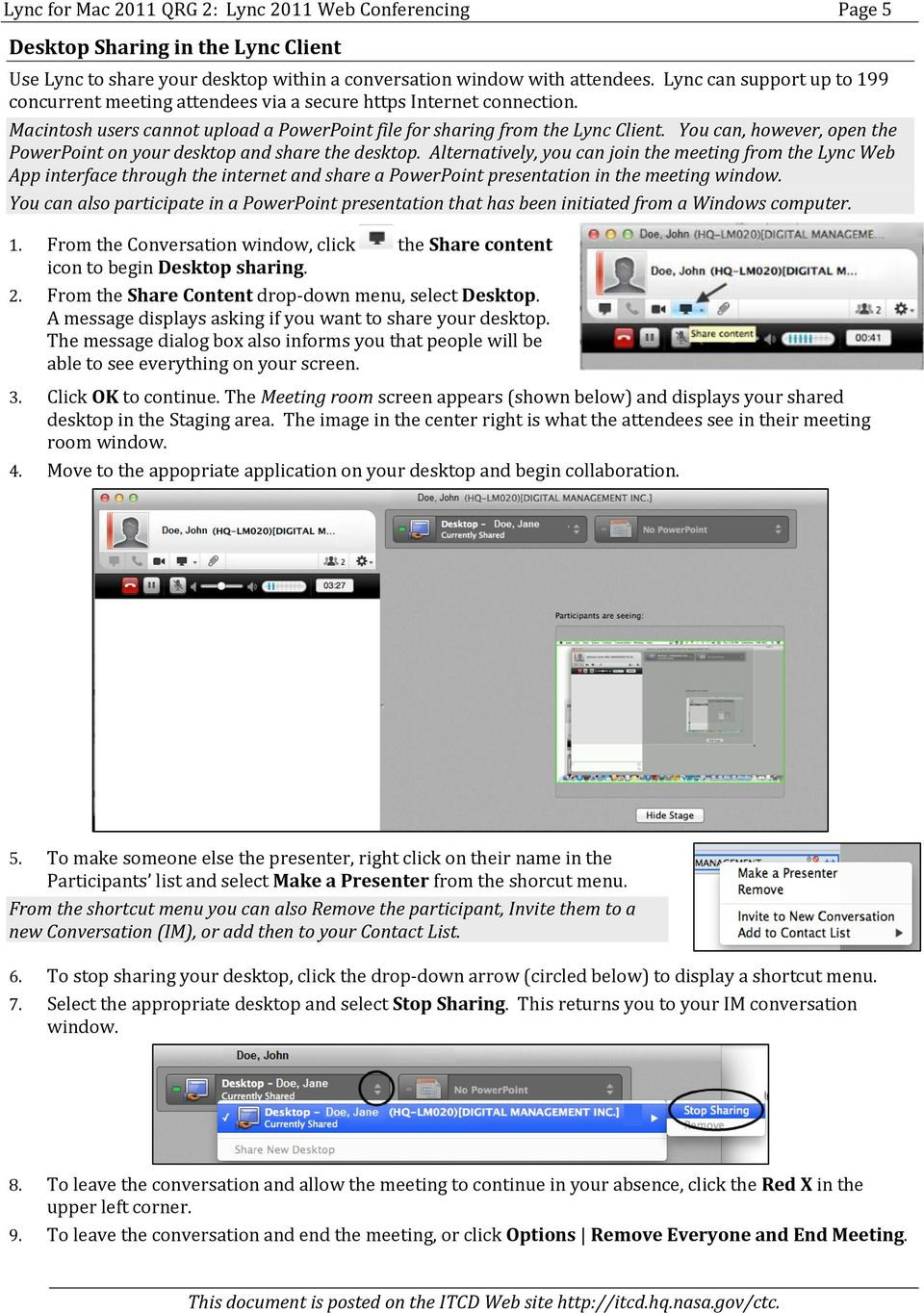 Quick Reference Guide 2 Lync for Mac 2011 Lync Web Conferencing - PDF