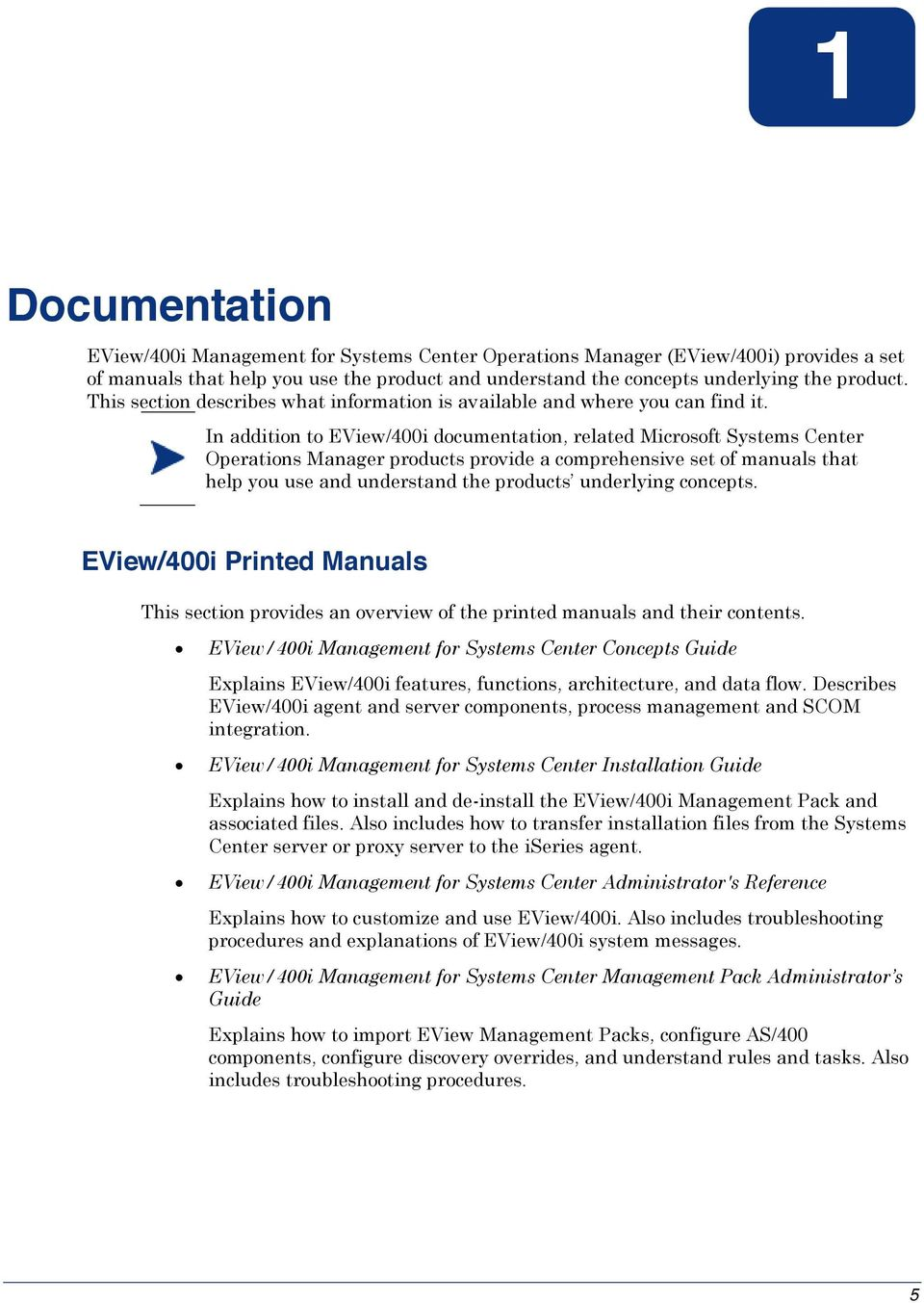 EView/400i Management Pack for Systems Center Operations