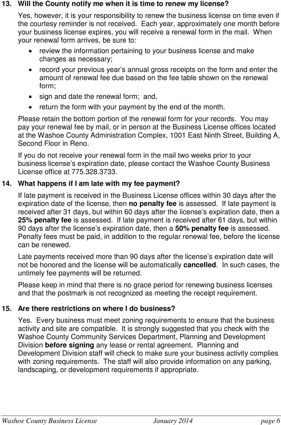 Washoe County Business License Common Questions - PDF