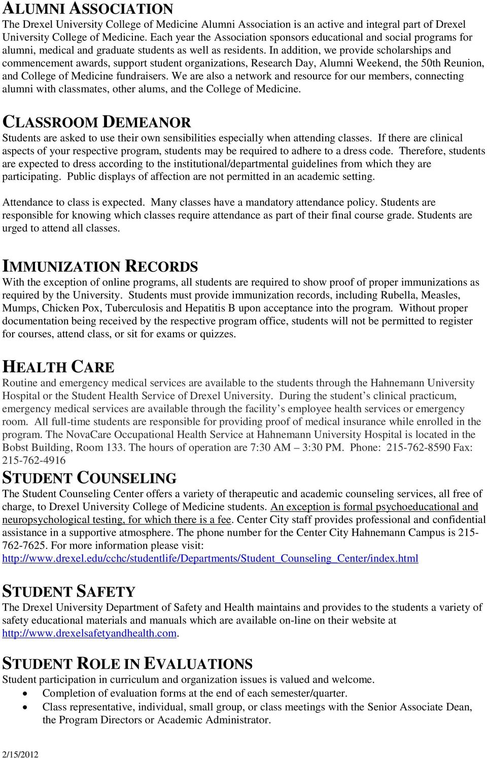 Office of Professional Studies in the Health Sciences - PDF