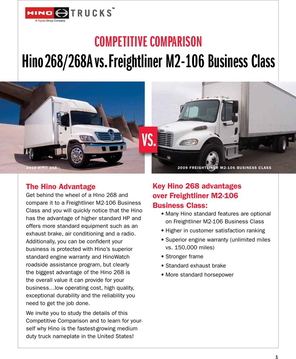 Vs Competitive Comparison Hino268 268a Vsfreightliner M2 106 2014 Cascadia Fuse Box Key The Advantage Of Higher Standard Hp And Offers More Equipment Such As An Exhaust Brake
