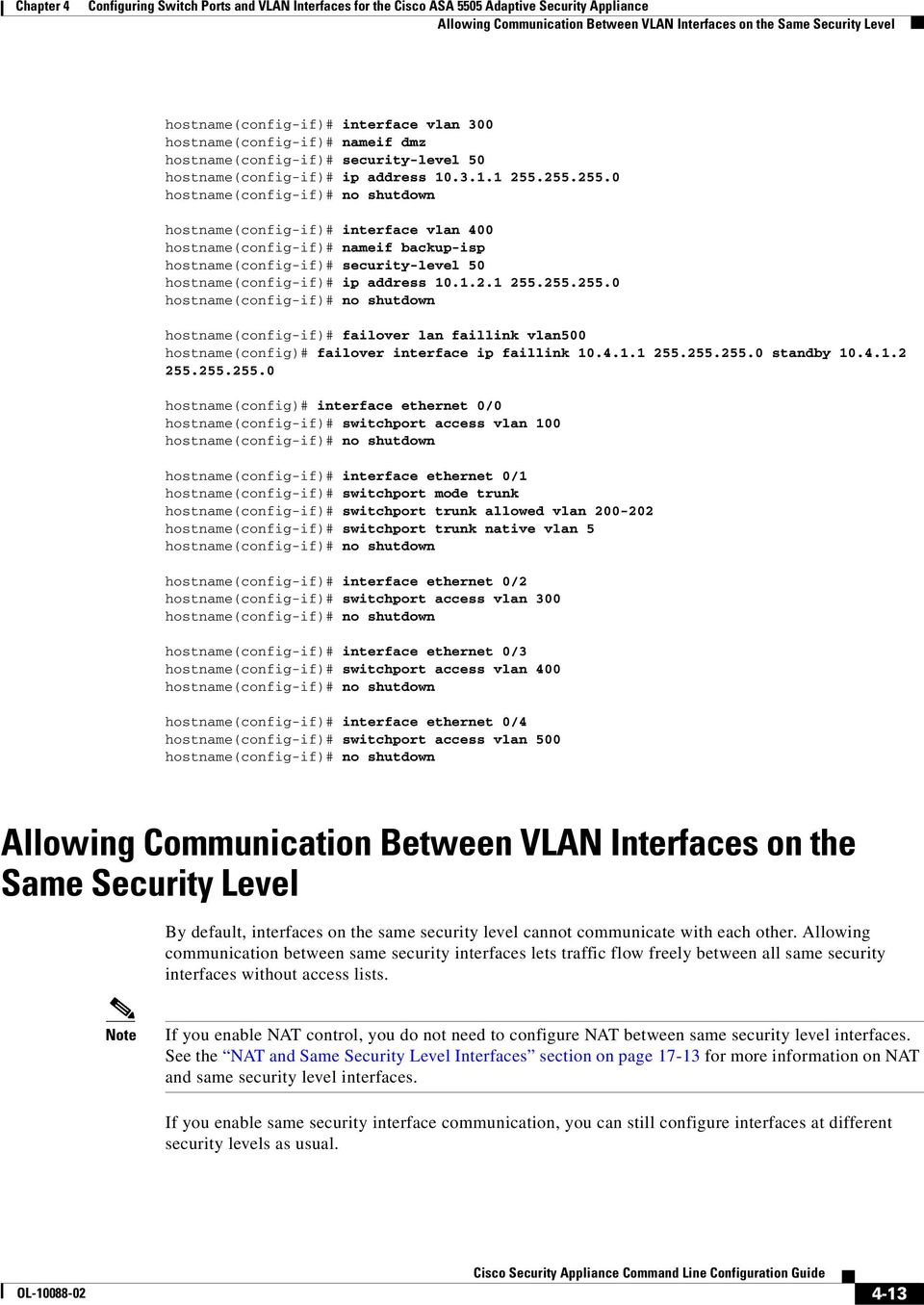 Configuring Switch Ports and VLAN Interfaces for the Cisco ASA 5505