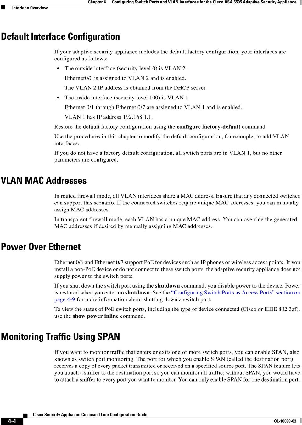 Configuring Switch Ports and VLAN Interfaces for the Cisco