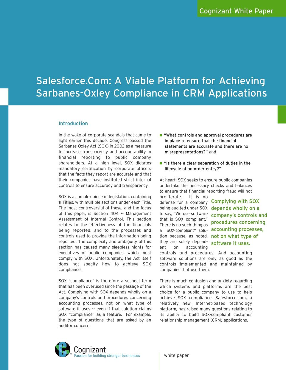 Salesforce A Viable Platform For Achieving Sarbanes Oxley