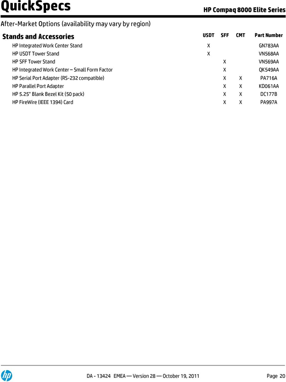 Hp 8000 Sff Specifications
