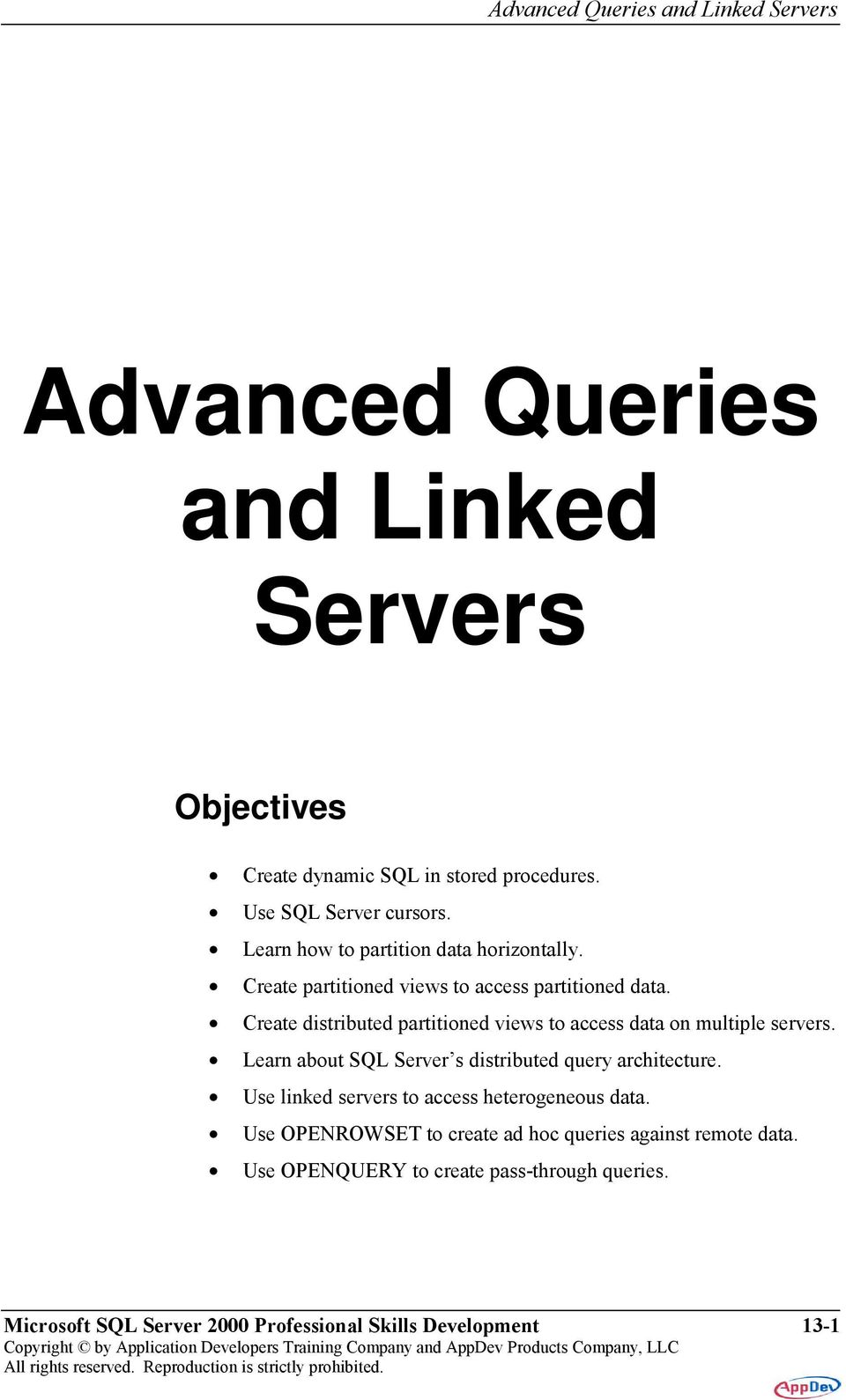 Advanced Queries and Linked Servers - PDF