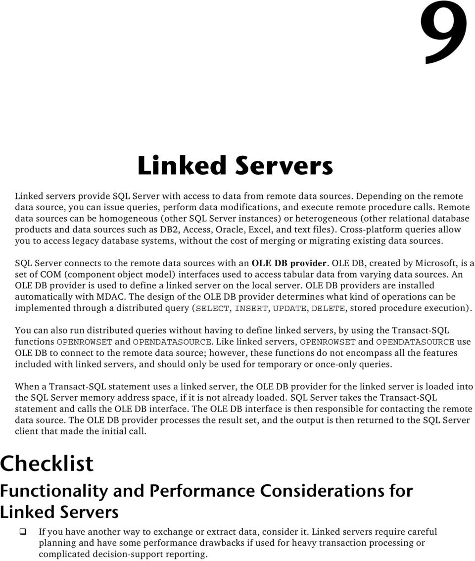 Linked Servers  Functionality and Performance Considerations