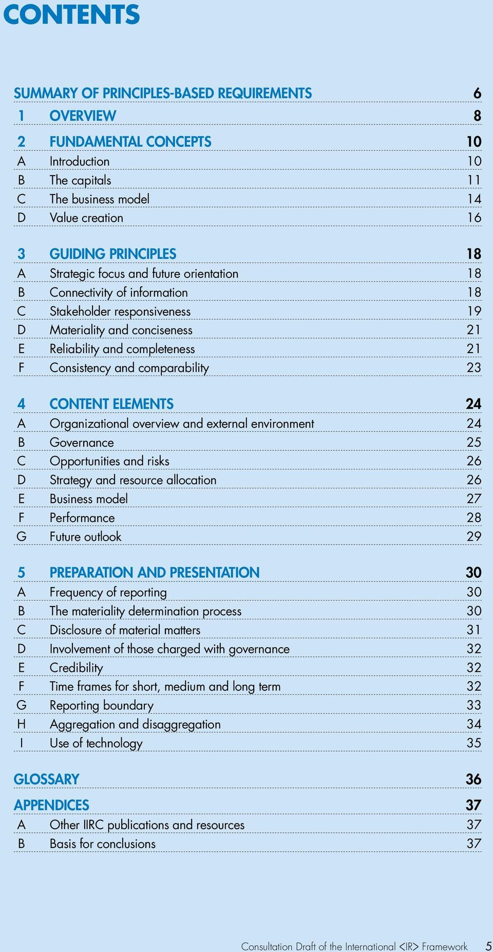 comparability 23 4 CONTENT ELEMENTS 24 A Organizational overview and external environment 24 B Governance 25 C Opportunities and risks 26 D Strategy and resource allocation 26 E Business model 27 F