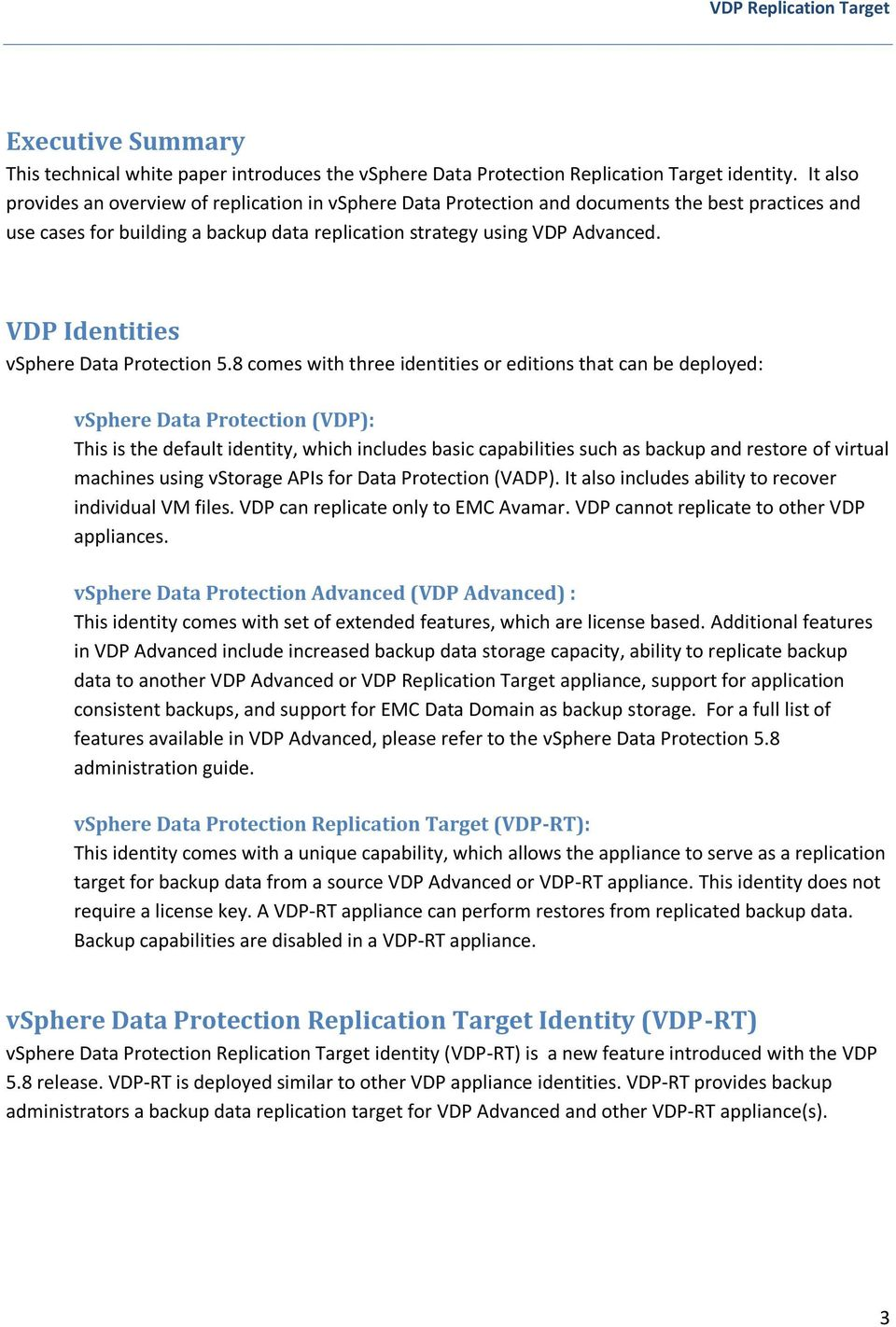 VDP Identities vsphere Data Protection 5.