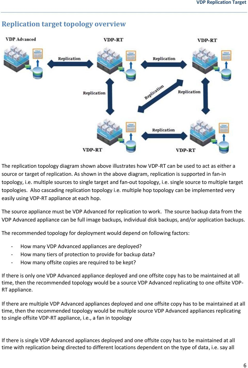 Also cascading replication topology i.e. multiple hop topology can be implemented very easily using VDP-RT appliance at each hop. The source appliance must be VDP Advanced for replication to work.