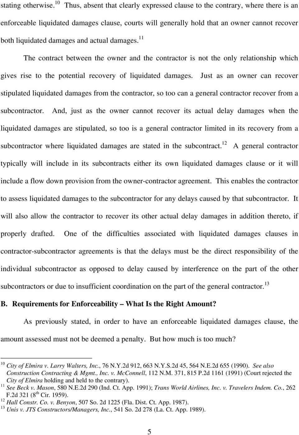 The Availability And Enforceability Of Liquidated Damages In