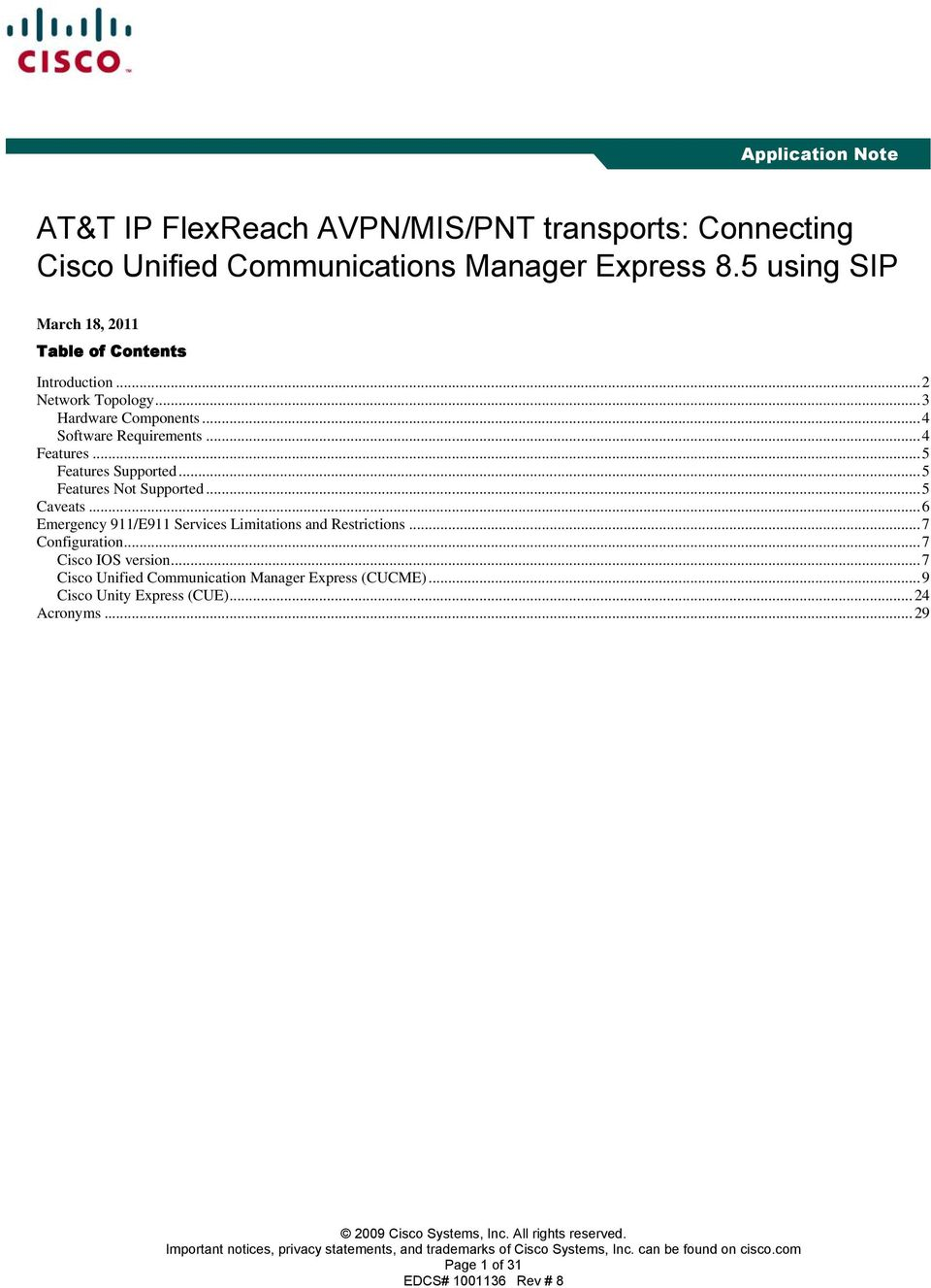 AT&T IP FlexReach AVPN/MIS/PNT transports: Connecting Cisco Unified