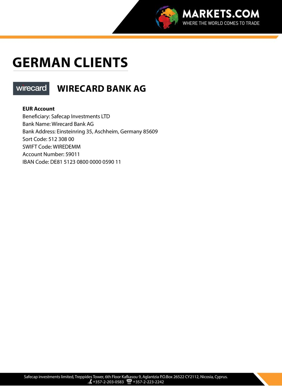Wirecard Bank Ag Routing Number
