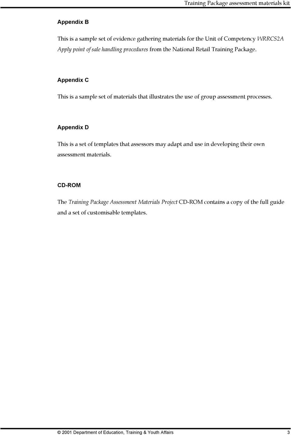 Training Package Assessment Materials Kit Pdf